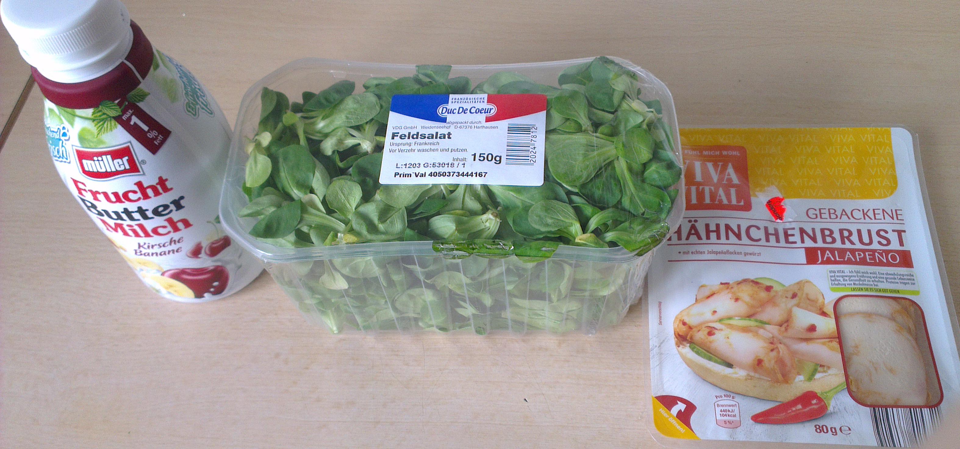 Diesmal eine Mahlzeit mit Hühnchen-Feldsalat.
